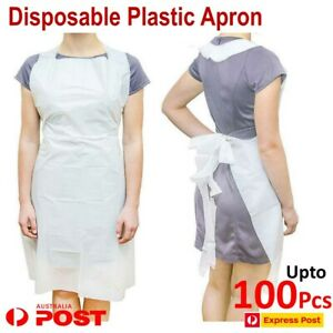 Disposable Apron Plastic Cover Gown Isolation Medical Food Kitchen work 100 Pcs
