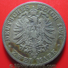 PRUSSIA 1876-C 2 MARK SILVER CLEVE MINT GERMAN COLLECTABLE WORLD COIN 28mm