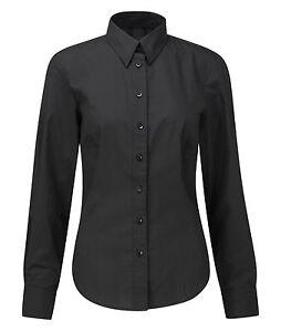 Ladies Women Long Sleeve Blouse Shirt Black