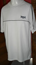 Medium White Short Sleeve V Neck T Shirt with Silver & Black Piping by Lonsdale