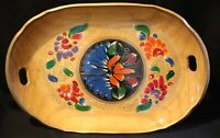 """Hand Painted Floral  Wood 18"""" x 12"""" Serving Tray / Platter Colorful Large"""