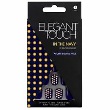 Elegant Touch 24 False Nails Pack With Adhesive Tabs Studded in The Navy