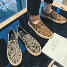 Mens Leopard Floral Printed Fashion Slip On Loafers Flat Heel Club Shoes New