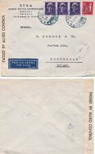Italy 1946 Air mail fromTrieste with AMG opts on adhesives to Holland  censored