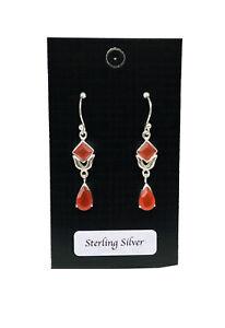 925 Sterling Silver Carnelian Earrings