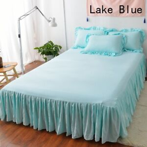 3PCS Bedspread Pillowcases Set Cotton Blend Ruffle Solid Bed Sheet Pillow Cover