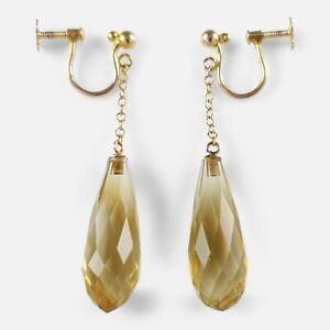 Antique Edwardian 9ct Yellow Gold Citrine Briolette Drop Earrings Circa 1905