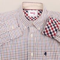 Stafford Prep Men's Button Up Shirt Size Medium Cotton Plaid White Blue Red