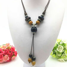 Fashion Ceramics Beads Pendant Ethnic Long Necklace Chain Jewelry Style  XL05