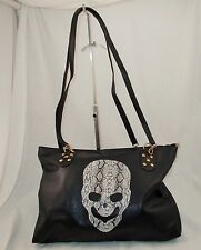 New Large Black Faux Leather Shoulder Bag with Snakeskin Print Skull