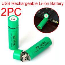 2PC 18650 3.7V 3800mAh USB Rechargeable Li-ion 18650 Battery Flashlight Torch UK