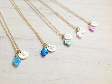 Hamsa Opal Initial Necklace Personalized Discs Charm Custom Letter Hamsa Jewelry