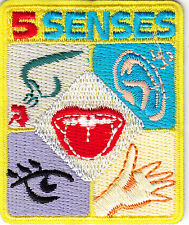 """5 SENSES"" IRON ON EMBROIDERED PATCH /Sight ,Hearing, Taste, Smell, Touch"