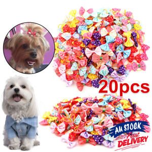 20PCS Hair Grooming Accessory Set Pet Puppy Cat Bows Rubber Bands Small Dog