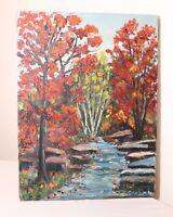 vintage original E. Simonetti landscape Fall River woods oil painting on canvas
