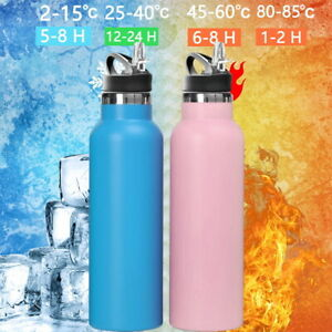 Stainless Steel Water Bottle Double Wall Vacuum Insulated Sports Metal Flip-Top
