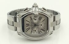 Mens Cartier Roadster Chronograph XL Stainless Steel White Dial Automatic Watch