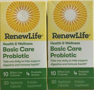 LOT OF 2 Renew Life Basic Care Probiotic Health & Wellness 10 Billion 30 Caps