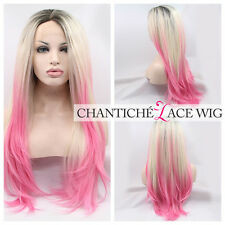Lace Front Wigs Ombre Dark Roots&Blonde Pink Synthetic Hair Wavy Heat Friendly
