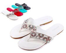 White nn Bamboo New Fashion Rhinestone Flip Flops Casual Womens Shoes Size 7