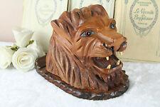 VTG Black forest design Wood carved Swiss Cigarettes box tiger glass eyes