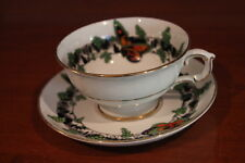 ATLAS ENGLAND ORANGE BUTTERFLY GREEN BLACK DECO ART TEA CUP AND SAUCER