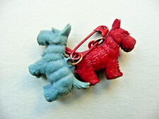 Scottie Dogs Brooch / Retro Pin Celluloid Red & Blue Vintage 1930s