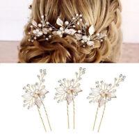 Weddings Hair Accessories Alloy Leaves Handmade Crystal Pearl Hairpin Hair Comb