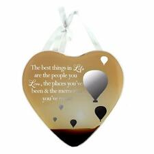 Life Sentiment Gift - Heart Shaped Mirrored Hanging Plaque Gift 61422 WB
