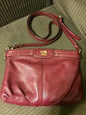 COACH MADISON ZIP PLEATED CROSSBODY MESSENGER SWINGPACK MAROON LEATHER