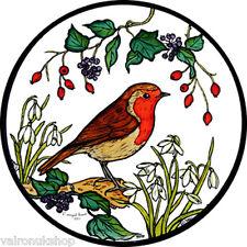 Vidriera Arte-estática Decoración-Robin y snowdrops