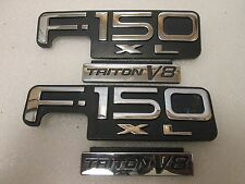 02 Ford F-150 XL Triton V8 Chrome-Black-Red Fender Emblem  OEM  Set of 2