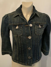 Krizia Jeans Blue Denim Jacket Logo Buttons Made in Italy Size 8 Medium IT 42
