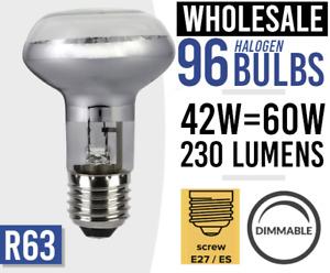 96x Dimmable Spot Light Bulb Halogen 240v 42W = 60Watt R63 E27 Bulbs BULK LOT 96