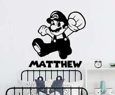 Super Mario Game WALL sticker Personalised  name girls boys Disney bedroom desig
