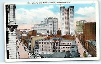 Pittsburgh Pennsylvania 1935 Liberty and Fifth Avenue City Vintage Postcard A75