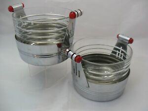 Pair Vintage Art Deco Ice Buckets, Red Bakelite Handles Chrome & Glass