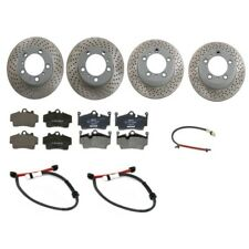 Front & Rear Vented Brake Rotors w Pads & Sensors Kit For Porsche Boxster Cayman