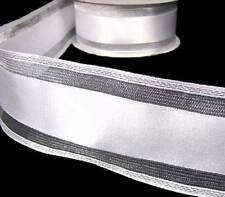 "5 Yards Wedding White Silver Metallic Stripe Wired Ribbon 2 1/2""W"