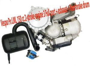 Vespa Px LML 150 cc 2-stroke engine 3 Full pot + exhaust + Rear brake drum(used)
