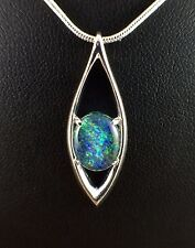 Unique Genuine Opal Triplet Necklace Pendant 18ct White Gold Plated with Chain