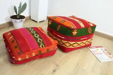Set-of-2 Poufs Moroccan handmade/ Pouf House Square / Coushion from Kilim
