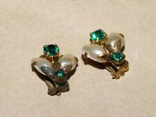 VTG Antique Brass Baroque Faux Pearl & Green Rhinestone Bug Insect Clip Earrings