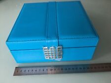 Glenor Co.50-Section Blue Jewelry Box Earring Ring Organizer with Mirror. NEW