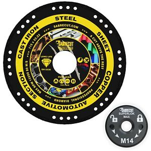 SabreCut 115-125mm Vacuum Brazed Metal Cutting Diamond Discs for Angle Grinders