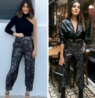 Zara Noir à Paillettes Pantalon TAILLE S