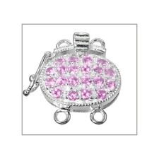 Fine Sterling Silver 2 Strands Oval Box Clasp with Secure Lock CZ Pink #51589