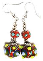 Long Silver Colourful Red Earrings Drop Dangle Lampwork Glass Bead Pierced