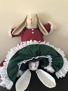 "Handmade Bunny Rabbit Flip Flop Doll Topsy Turvy 24"" Red & Green Dress Primitive"