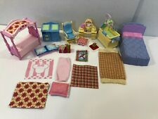 Fisher Price Loving Family Doll House Furniture Lot Bedroom Rugs Pillows